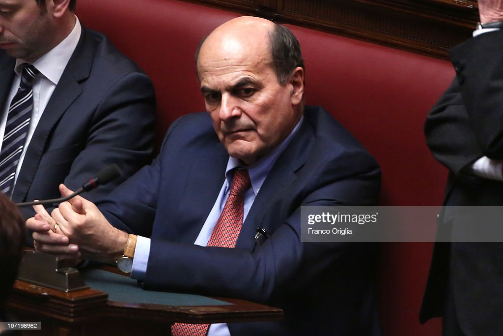 Secretary of Democratic Party Pier Luigi Bersani attends the inauguration of the newly reelected President Giorgio Napolitano during a joint session...