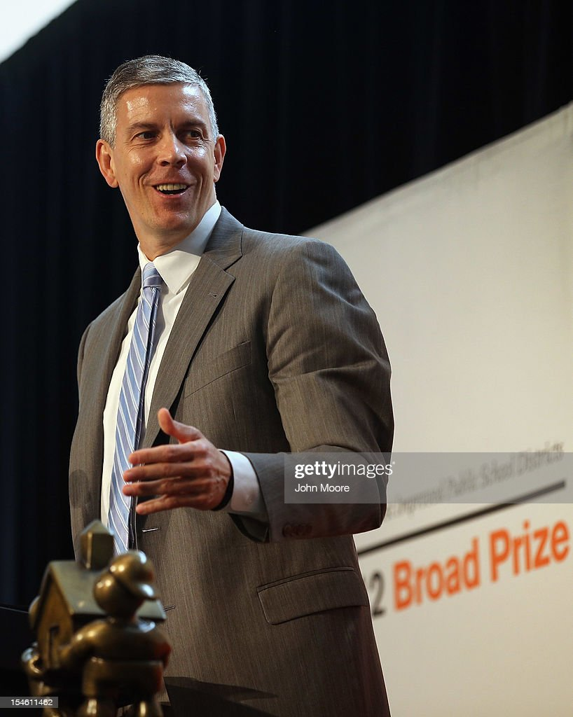 U.S. Secretary of Education <a gi-track='captionPersonalityLinkClicked' href=/galleries/search?phrase=Arne+Duncan&family=editorial&specificpeople=3049193 ng-click='$event.stopPropagation()'>Arne Duncan</a> announces that Miami-Dade County Public Schools won the 2012 Broad Prize for Urban Education on October 23, 2012 in New York City. The award recognizes a large school district making the greatest progress nationwide in raising overall student achievment while reducing achievement gaps in low-income and minority students. Miami-Dade, a five-time finalist, will receive $550,000 in college scholarships for its high school seniors. The three other finalists, Corona Norco, Houston and Palm Beach, each receive $150,000 in scholarships.