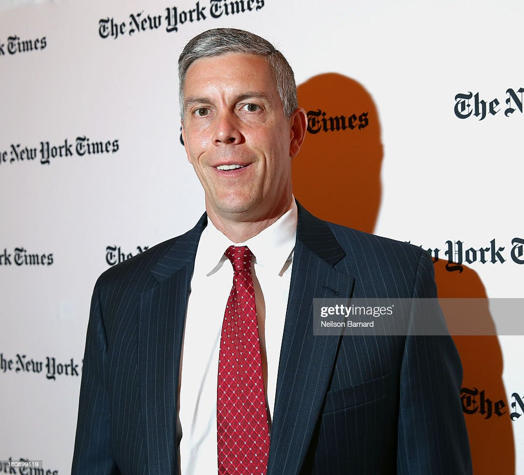 Secretary of Education <a gi-track='captionPersonalityLinkClicked' href=/galleries/search?phrase=Arne+Duncan&family=editorial&specificpeople=3049193 ng-click='$event.stopPropagation()'>Arne Duncan</a> attends the New York Times Schools For Tomorrow Conference at the TimesCenter on September 17, 2013 in New York, United States.