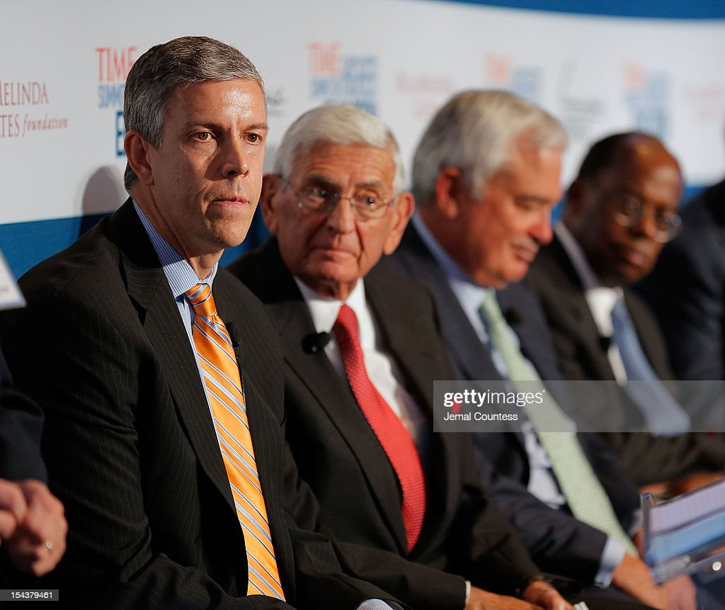 U.S. Secretary of Education Arne Duncan, Founder of the Broad Foundations Eli Broad, Former CEO and Chairman of the Board at IBM Louis V. Gerstner Jr., and President and CEO of TIAA-CREF Roger W. Ferguson, Jr. participate in the 'All Hands on Deck: Perspectives from Higher Education, Government, Philanthropy and Business' panal during the TIME Summit On Higher Education on October 18, 2012 in New York City.