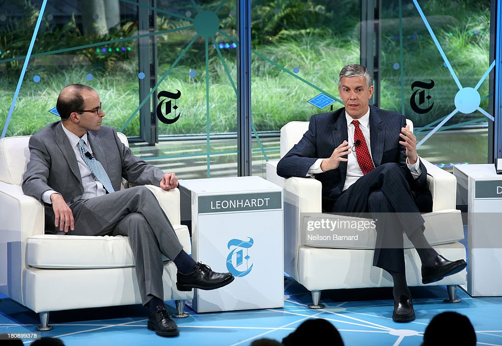 Secretary of Education <a gi-track='captionPersonalityLinkClicked' href=/galleries/search?phrase=Arne+Duncan&family=editorial&specificpeople=3049193 ng-click='$event.stopPropagation()'>Arne Duncan</a> (R) gets interveiwed by New York Times Washington bureau chief David Leonhardt during a Columnist conversation at the New York Times Schools For Tomorrow Conference at the TimesCenter on September 17, 2013 in New York, United States.