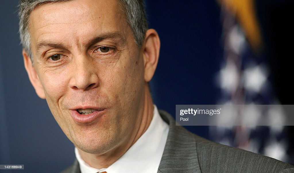 U.S. Secretary of Education <a gi-track='captionPersonalityLinkClicked' href=/galleries/search?phrase=Arne+Duncan&family=editorial&specificpeople=3049193 ng-click='$event.stopPropagation()'>Arne Duncan</a> speaks at the press briefing of the White House April 20, 2012 in Washington, DC.