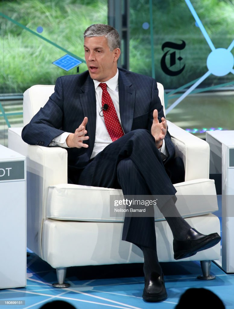Secretary of Education <a gi-track='captionPersonalityLinkClicked' href=/galleries/search?phrase=Arne+Duncan&family=editorial&specificpeople=3049193 ng-click='$event.stopPropagation()'>Arne Duncan</a> speaks during a Columnist conversation at the New York Times Schools For Tomorrow Conference at the TimesCenter on September 17, 2013 in New York, United States.