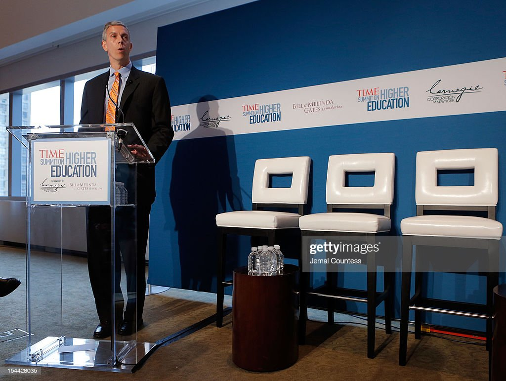 U.S. Secretary of Education Arne Duncan speaks prior to the 'All Hands on Deck: Perspectives from Higher Education, Government, Philanthropy and Business' panal during the TIME Summit On Higher Education on October 18, 2012 in New York City.
