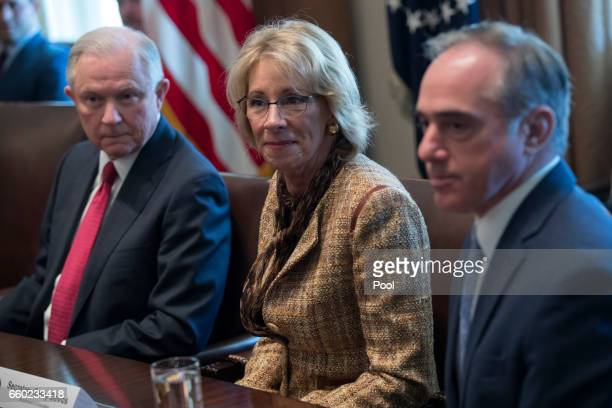 Secretary of Education Betsy DeVos Attorney General Jeff Sessions and Secretary of Veterans Affairs Secretary David Shulkin attend a panel discussion...