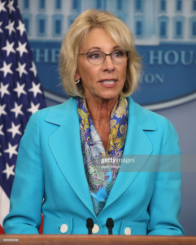 Secretary of Education Betsy DeVos speaks about a donation from President Donald Trump to the Department of Education during the daily press briefing in the Brady Press Briefing Room at the White House on July 26, 2017 in Washington, DC. President Trump donated his salary from the second quarter of the year to the Department of Education.