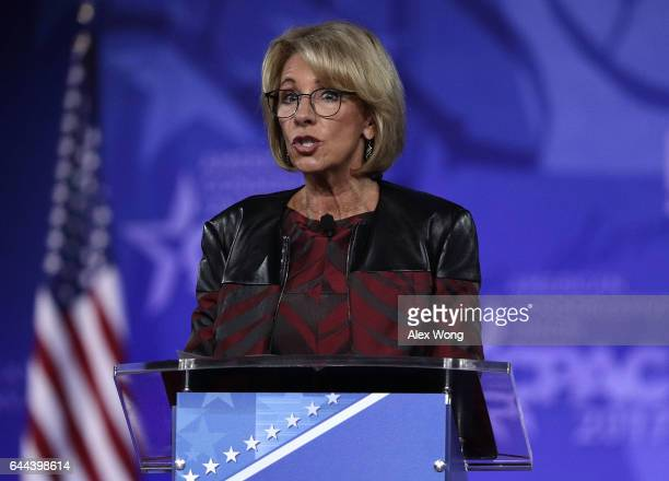 S Secretary of Education Betsy DeVos speaks during the Conservative Political Action Conference at the Gaylord National Resort and Convention Center...