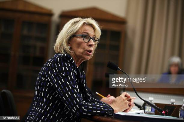 S Secretary of Education Betsy DeVos testifies during a hearing before the Labor Health and Human Services Education and Related Agencies...