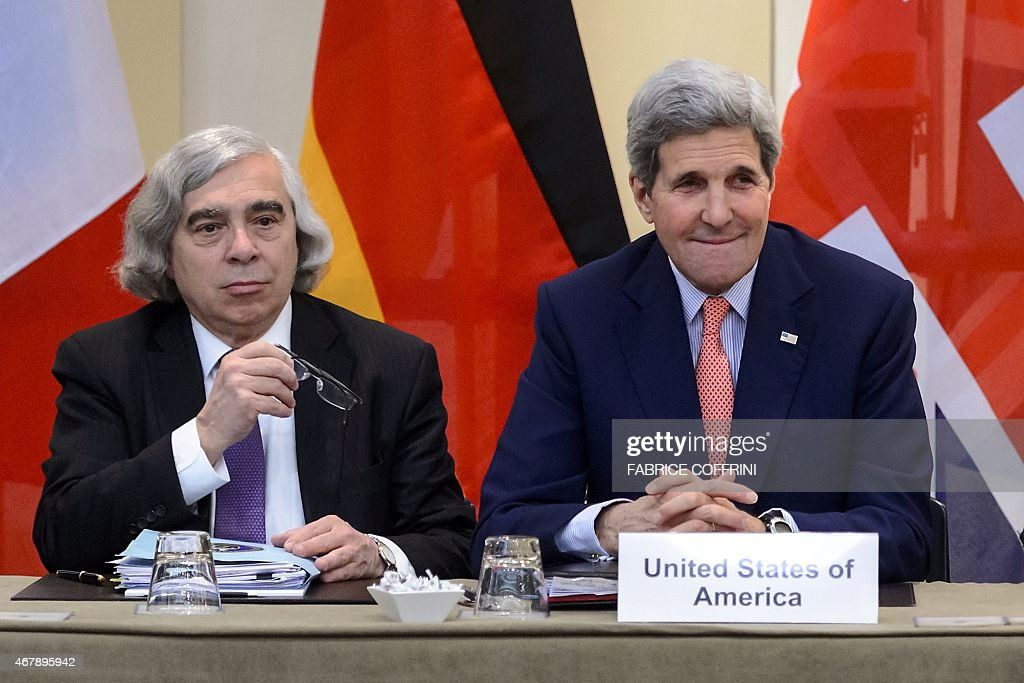 US Secretary of Energy <a gi-track='captionPersonalityLinkClicked' href=/galleries/search?phrase=Ernest+Moniz&family=editorial&specificpeople=7551550 ng-click='$event.stopPropagation()'>Ernest Moniz</a> (L) and US Secretary of State <a gi-track='captionPersonalityLinkClicked' href=/galleries/search?phrase=John+Kerry&family=editorial&specificpeople=154885 ng-click='$event.stopPropagation()'>John Kerry</a> attend Iranian nuclear talks in Lausanne on March 28, 2015. Tortuous negotiations aimed at laying to rest fears that Iran will acquire nuclear weapons shifted into top gear with each side demanding the other give ground ahead of a looming deadline.