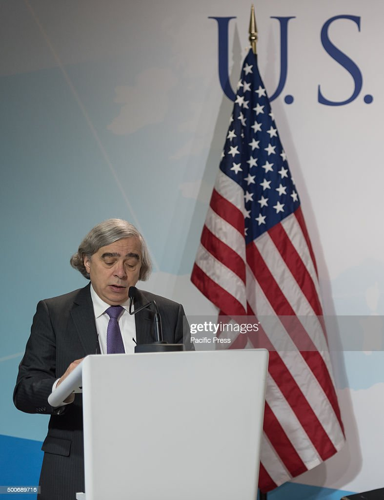 U.S. Secretary of Energy <a gi-track='captionPersonalityLinkClicked' href=/galleries/search?phrase=Ernest+Moniz&family=editorial&specificpeople=7551550 ng-click='$event.stopPropagation()'>Ernest Moniz</a> talks during a panel entitle 'High-level event on Zero Emission Vehicles 'at the COP21, United Nations Climate Change Conference in Paris. COP21 aimed to reach an international agreement limiting the greenhouse gas emissions and curtail climate change.