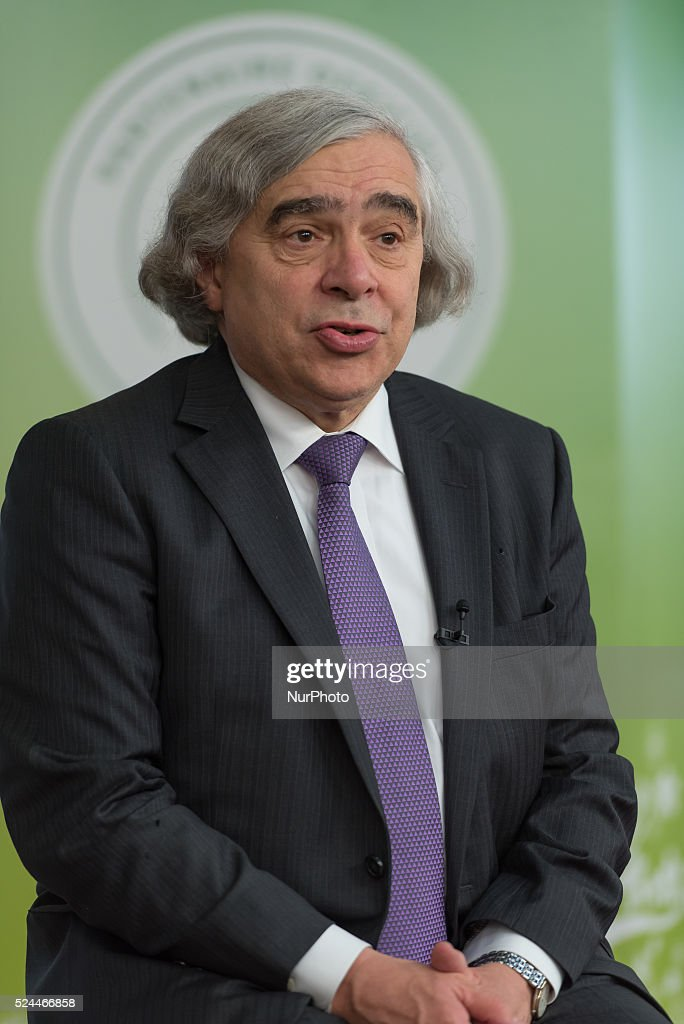 US Secretary of Energy Ernest Moniz talks during a panel entitle quotHighlevel event on Zero Emission Vehiclesquot at the COP21 United Nations...