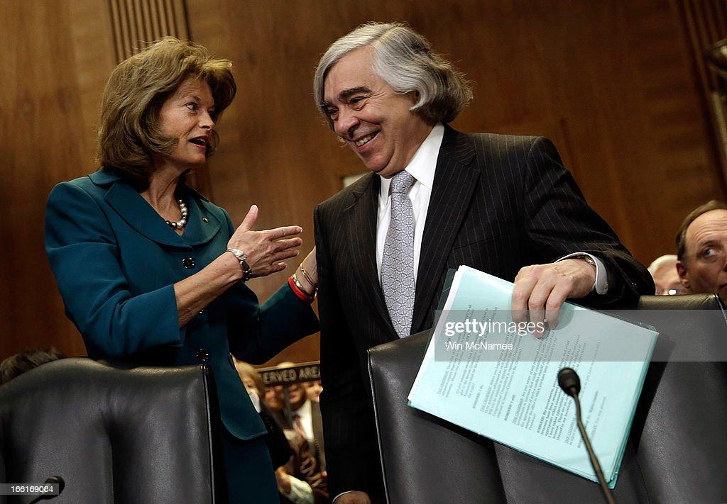 Secretary of Energy nominee Ernest Moniz greets ranking committee member Sen Lisa Murkowski prior to his testimony before the Senate Energy and...