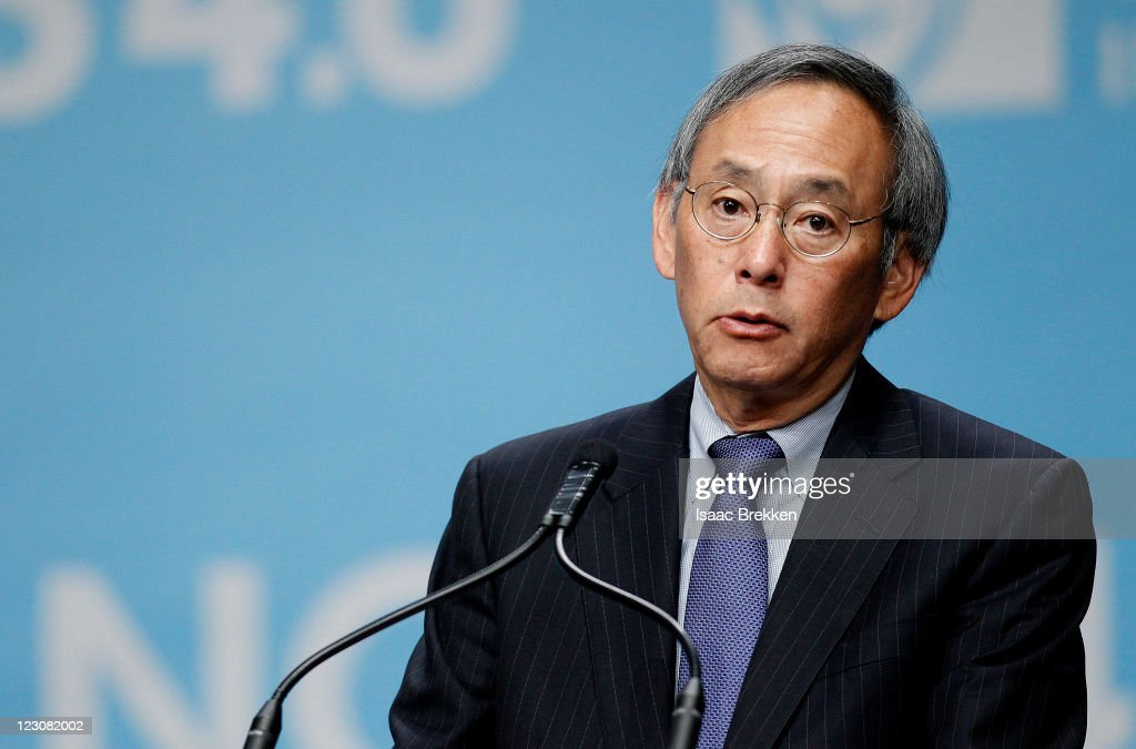 U.S. Secretary of Energy <a gi-track='captionPersonalityLinkClicked' href=/galleries/search?phrase=Steven+Chu&family=editorial&specificpeople=2732289 ng-click='$event.stopPropagation()'>Steven Chu</a> speaks during the National Clean Energy Summit 4.0 at Aria Resort & Casino at CityCenter on August 30, 2011 in Las Vegas, Nevada.