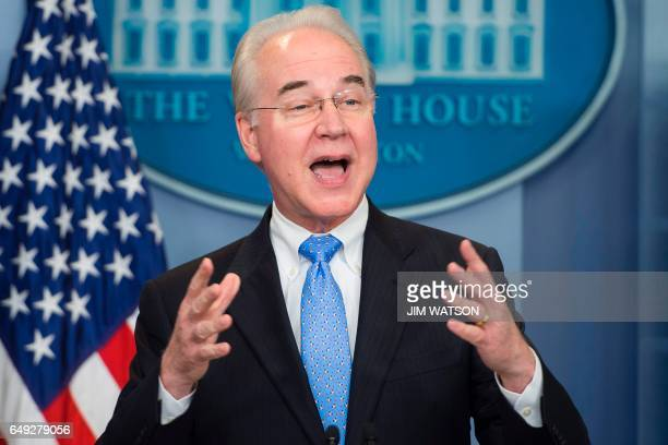 US Secretary of Health and Human Service Tom Price speaks during the daily briefing at the White House in Washington DC March 7 2017 / AFP PHOTO /...