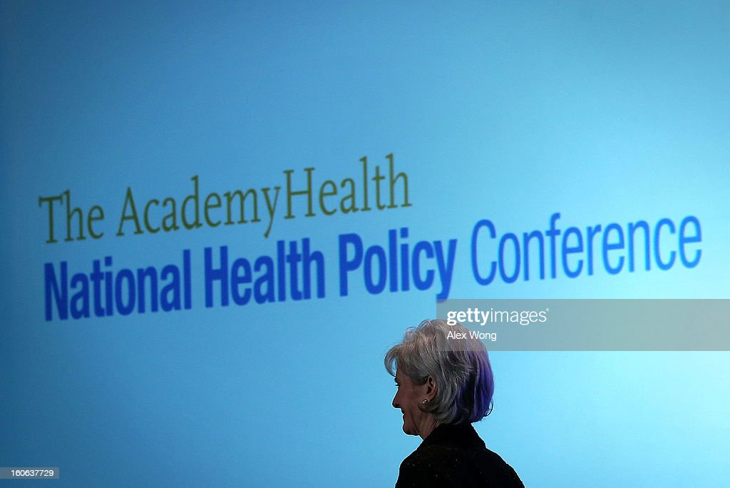 U.S. Secretary of Health and Human Services Kathleen Sebelius leaves after she spoke during the opening plenary of the National Health Policy Conference organized by The AcademyHealth February 4, 2013 in Washington, DC. Sebelius spoke on the Obama Administration's health policy priorities.