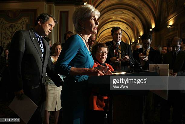 S Secretary of Health and Human Services Kathleen Sebelius speaks as US Sen Sherrod Brown and US Sen Barbara Mikulski listen during a news conference...