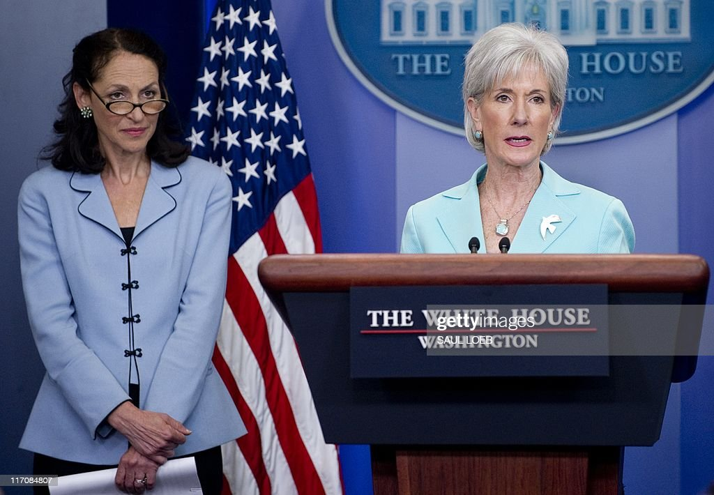 US Secretary of Health and Human Services Kathleen Sebelius speaks alongside Food and Drug Administration Commissioner Margaret Hamburg during the...