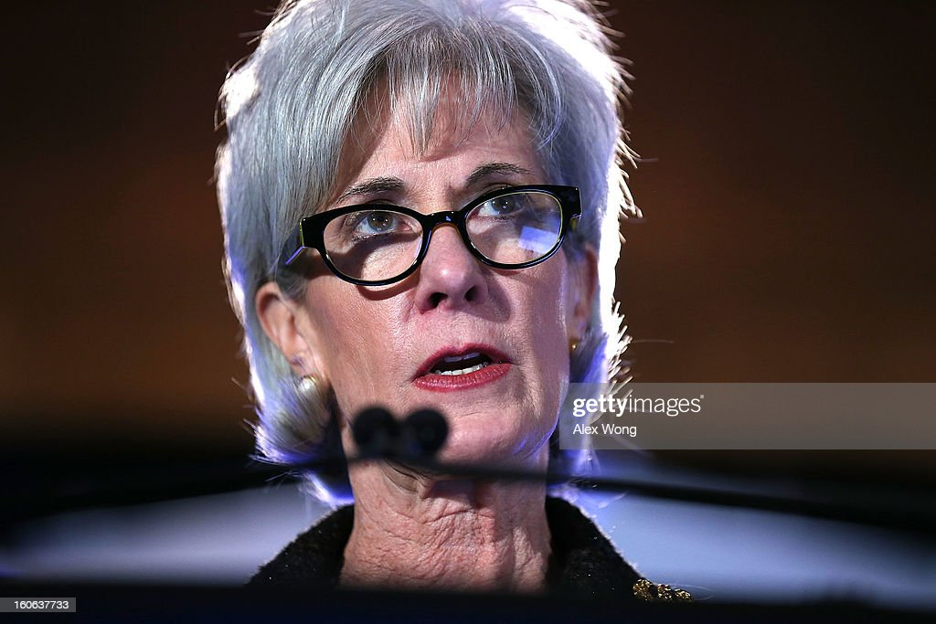 U.S. Secretary of Health and Human Services <a gi-track='captionPersonalityLinkClicked' href=/galleries/search?phrase=Kathleen+Sebelius&family=editorial&specificpeople=700528 ng-click='$event.stopPropagation()'>Kathleen Sebelius</a> speaks during the opening plenary of the National Health Policy Conference organized by The AcademyHealth February 4, 2013 in Washington, DC. Sebelius spoke on the Obama Administration's health policy priorities.
