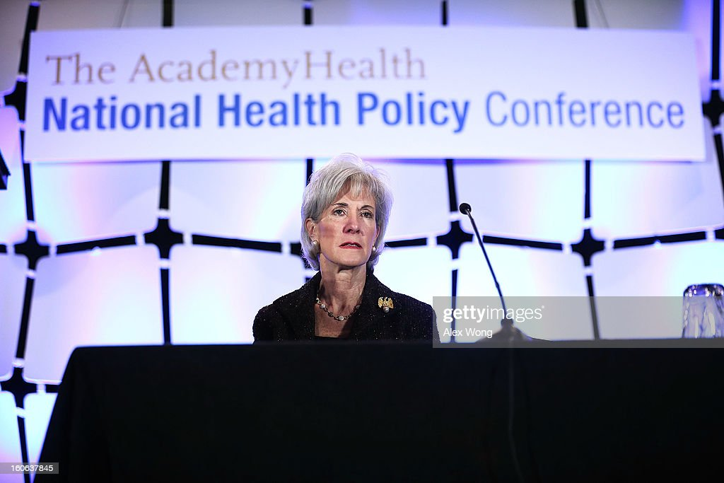 U.S. Secretary of Health and Human Services <a gi-track='captionPersonalityLinkClicked' href=/galleries/search?phrase=Kathleen+Sebelius&family=editorial&specificpeople=700528 ng-click='$event.stopPropagation()'>Kathleen Sebelius</a> waits to be introduced during the opening plenary of the National Health Policy Conference organized by The AcademyHealth February 4, 2013 in Washington, DC. Sebelius spoke on the Obama Administration's health policy priorities.