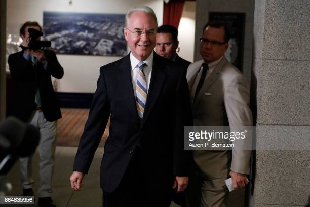 Secretary of Health and Human Services Tom Price arrives at a meeting of House Republicans on Capitol Hill April 4 2017 in Washington DC Republicans...