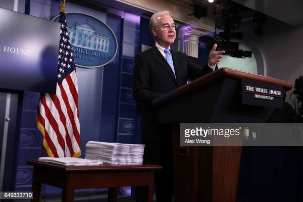 S Secretary of Health and Human Services Tom Price speaks during the White House daily press briefing March 7 2017 at the White House in Washington...