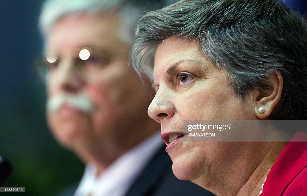 US Secretary of Homeland Security Janet Napolitano and Amtrak President and CEO Joseph Boardman (L) announce a partnership to combat human trafficking during a press conference at Union Station in Washington, DC, October 4, 2012. AFP PHOTO/Jim WATSON
