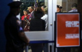 S Secretary of Homeland Security Janet Napolitano and Secretary of Transportation Ray LaHood participate during a news conference at Union Station...