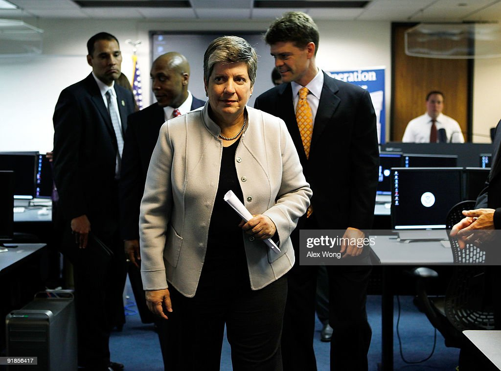 U.S. Secretary of Homeland Security <a gi-track='captionPersonalityLinkClicked' href=/galleries/search?phrase=Janet+Napolitano&family=editorial&specificpeople=589781 ng-click='$event.stopPropagation()'>Janet Napolitano</a> (C) visits the training room of the Cyber Crimes Center of the U.S. Immigration and Customs Enforcement October 13, 2009 in Fairfax, Virginia. The Cyber Crime Center, which is formed with the Child Exploitation Section, the Computer Forensics Section and the Cyber Crimes Section, focus on investigating criminal activities occur on or facilitated by the Internet. It also offers training to local, federal, and international law enforcement agencies.