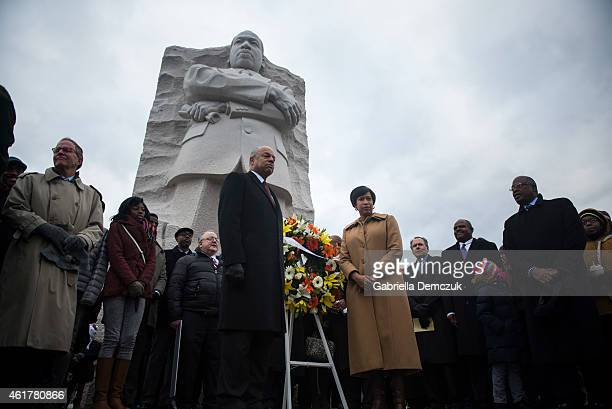 S Secretary of Homeland Security Jeh Johnson and Washington DC Mayor Muriel Bowser participate in a wreath laying at the Martin Luther King Jr...