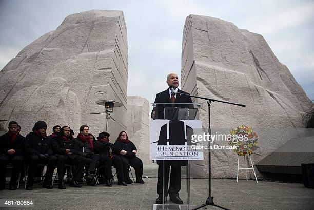 S Secretary of Homeland Security Jeh Johnson speaks during a wreath laying ceremony at the Martin Luther King Jr Memorial on the National Mall on...