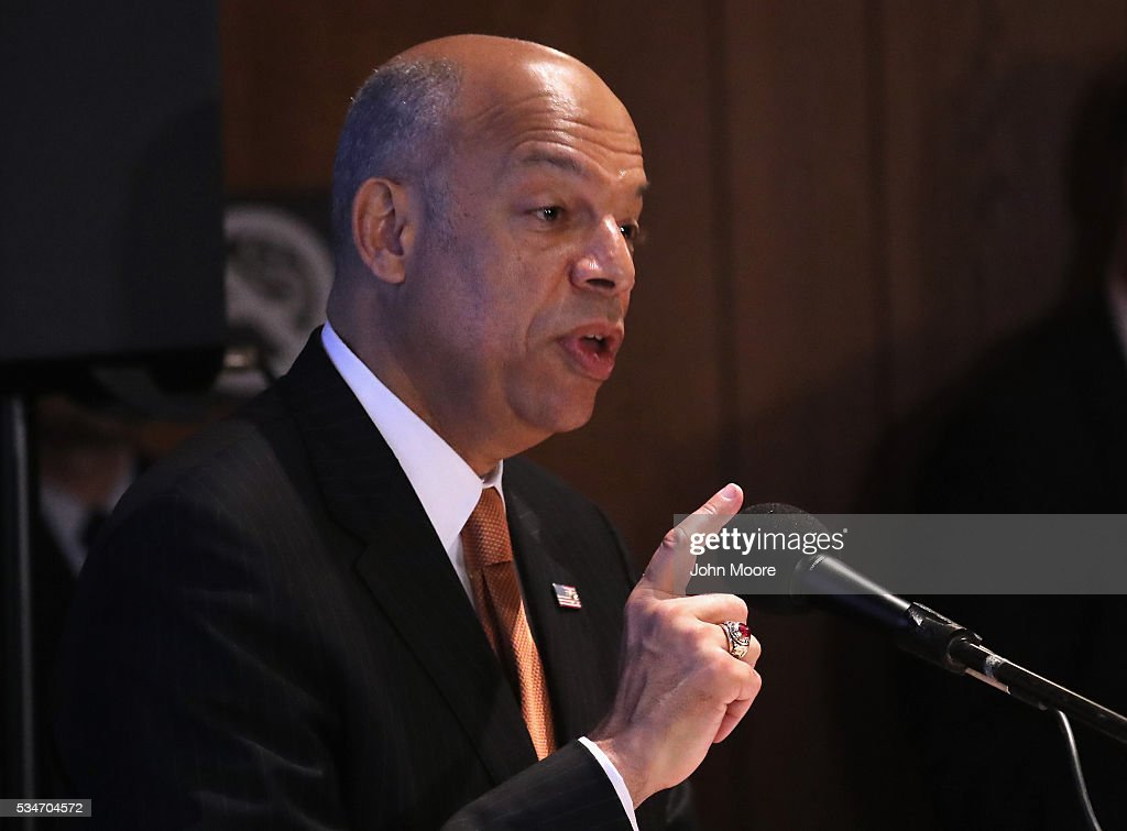 U.S. Secretary of Homeland Security <a gi-track='captionPersonalityLinkClicked' href=/galleries/search?phrase=Jeh+Johnson&family=editorial&specificpeople=5862084 ng-click='$event.stopPropagation()'>Jeh Johnson</a> speaks to a group of immigrants during a naturalization ceremony for new American citizens on Ellis Island on May 27, 2016 in New York City. Johnson administered the oath of citizenship to immigrants from 39 countries on the historic island in New York Harbor where millions of immigrants first arrived to America.