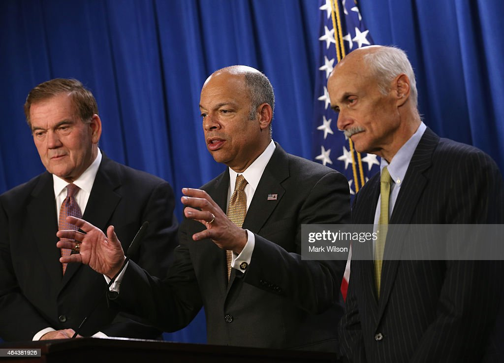 Secretary of Homeland Security <a gi-track='captionPersonalityLinkClicked' href=/galleries/search?phrase=Jeh+Johnson&family=editorial&specificpeople=5862084 ng-click='$event.stopPropagation()'>Jeh Johnson</a> (C), speaks while flanked by former Secretaries of Homeland Security Governor <a gi-track='captionPersonalityLinkClicked' href=/galleries/search?phrase=Tom+Ridge&family=editorial&specificpeople=138617 ng-click='$event.stopPropagation()'>Tom Ridge</a> (L) and Judge <a gi-track='captionPersonalityLinkClicked' href=/galleries/search?phrase=Michael+Chertoff&family=editorial&specificpeople=204729 ng-click='$event.stopPropagation()'>Michael Chertoff</a> during a news conference at the U.S. Immigration and Customs Enforcement Headquarters February 25, 2015 in Washington, DC. Secretary Johnson, and former Homeland Security Secretaries <a gi-track='captionPersonalityLinkClicked' href=/galleries/search?phrase=Tom+Ridge&family=editorial&specificpeople=138617 ng-click='$event.stopPropagation()'>Tom Ridge</a> and <a gi-track='captionPersonalityLinkClicked' href=/galleries/search?phrase=Michael+Chertoff&family=editorial&specificpeople=204729 ng-click='$event.stopPropagation()'>Michael Chertoff</a> urged Congress to pass a full year appropriations bill for the Department of Homeland Security..