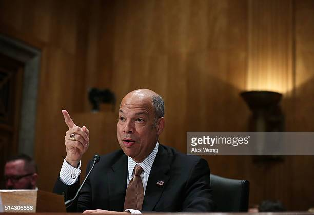 S Secretary of Homeland Security Jeh Johnson testifies during a hearing before the Senate Homeland Security and Governmental Affairs Committee March...