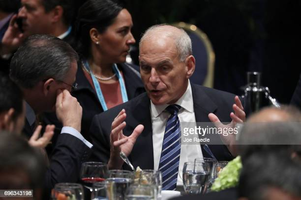 S Secretary of Homeland Security John F Kelly attends the Conference on Prosperity and Security in Central America at the Florida International...