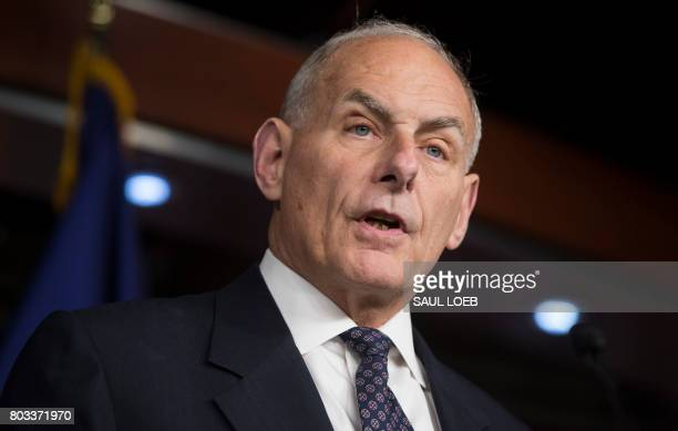 US Secretary of Homeland Security John Kelly speaks about immigration enforcement legislation during a press conference on Capitol Hill in Washington...