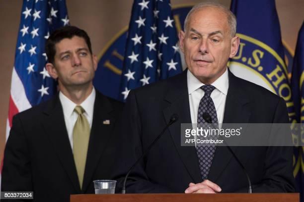 US Secretary of Homeland Security John Kelly speaks alongside Speaker of the House Paul Ryan about immigration enforcement legislation during a press...