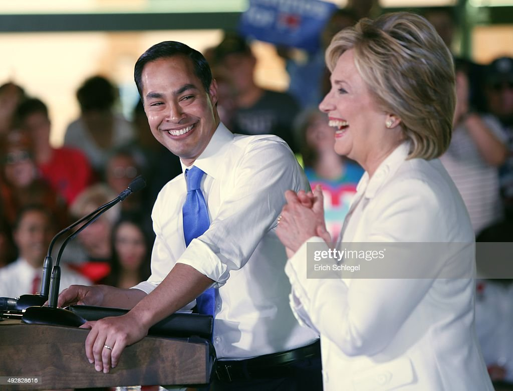 Secretary of Housing and Urban Development Secretary Julian Castro introduces Democratic presidential candidate <a gi-track='captionPersonalityLinkClicked' href=/galleries/search?phrase=Hillary+Clinton&family=editorial&specificpeople=76480 ng-click='$event.stopPropagation()'>Hillary Clinton</a> at a 'Latinos for Hillary' grassroots event October 15, 2015 in San Antonio, Texas. The event was part of the campaign's ongoing effort to build an organization outside of the four early states and work hard for every vote.