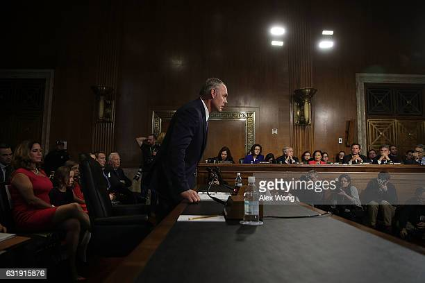 S Secretary of Interior nominee Rep Ryan Zinke takes his seat during his confirmation hearing before Senate Energy and Natural Resources Committee...