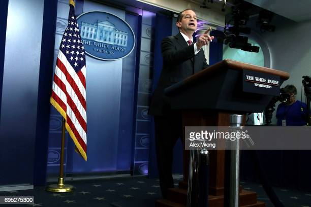 S Secretary of Labor Alex Acosta speaks during a White House daily briefing at the James Brady Press Briefing Room of the White House June 12 2017 in...