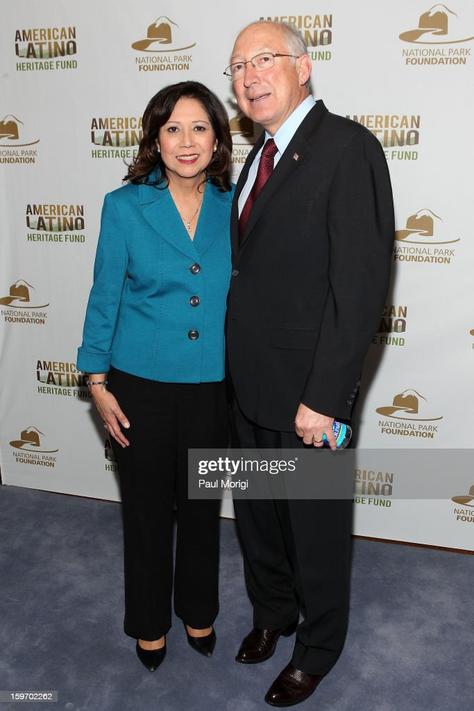 Secretary of Labor <a gi-track='captionPersonalityLinkClicked' href=/galleries/search?phrase=Hilda+Solis&family=editorial&specificpeople=704859 ng-click='$event.stopPropagation()'>Hilda Solis</a> and Secretary Of The Interior <a gi-track='captionPersonalityLinkClicked' href=/galleries/search?phrase=Ken+Salazar&family=editorial&specificpeople=228558 ng-click='$event.stopPropagation()'>Ken Salazar</a> attend a reception to recognize The National Park Service and The American Latino Initiative at the Secretary of the Interior's Suite at the Department of the Interior on January 18, 2013 in Washington, DC.
