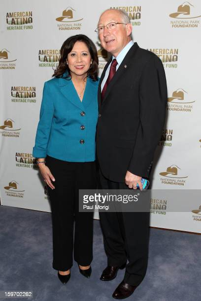 Secretary of Labor Hilda Solis and Secretary Of The Interior Ken Salazar attend a reception to recognize The National Park Service and The American...