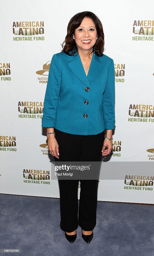 Secretary of Labor <a gi-track='captionPersonalityLinkClicked' href=/galleries/search?phrase=Hilda+Solis&family=editorial&specificpeople=704859 ng-click='$event.stopPropagation()'>Hilda Solis</a> attends a reception to recognize The National Park Service and The American Latino Initiative at the Secretary of the Interior's Suite at the Department of the Interior on January 18, 2013 in Washington, DC.