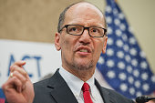 Secretary of Labor Thomas Perez attends a news conference in the Capitol Visitor Center April 30 on the 'Raise the Wage Act' that would increase the...