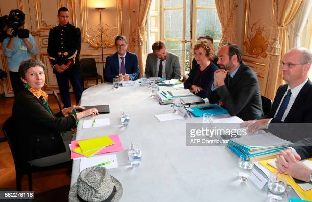 Secretary of National Union of Syndicale Solidaires Caroline Angeli looks on as French Prime Minister Edouard Philippe French Labour Minister Muriel...