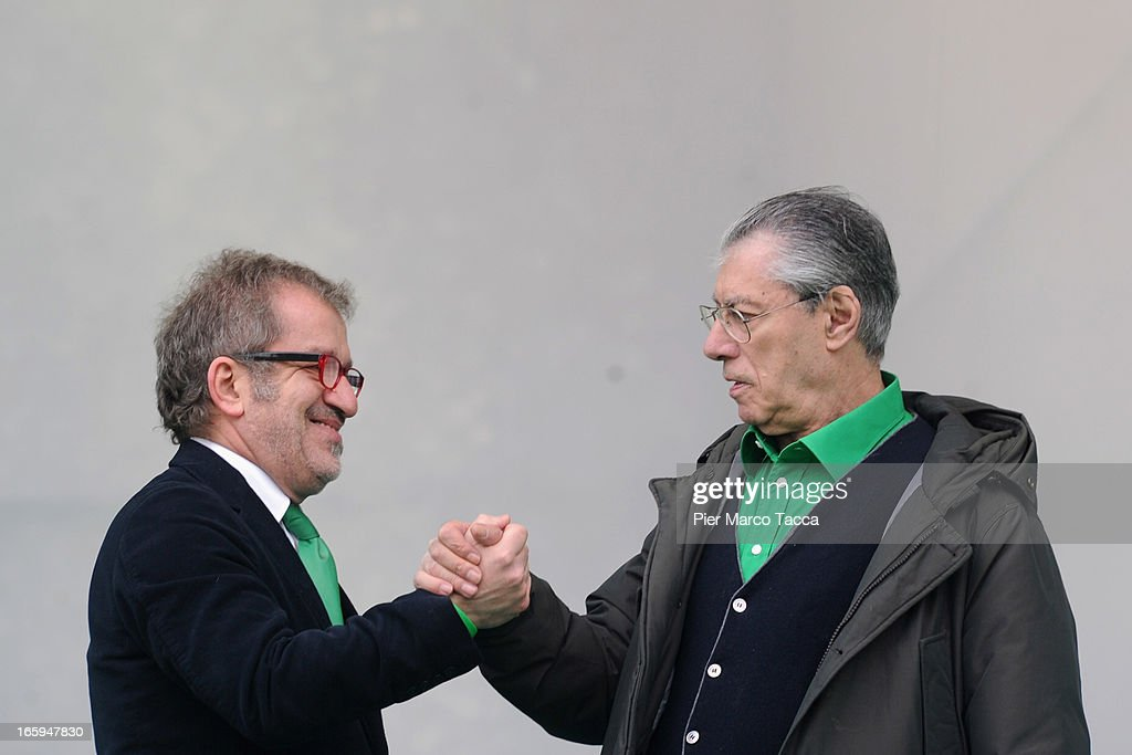 Secretary of Northern League party and <a gi-track='captionPersonalityLinkClicked' href=/galleries/search?phrase=Umberto+Bossi&family=editorial&specificpeople=613296 ng-click='$event.stopPropagation()'>Umberto Bossi</a> President of Northern League attend the annual Northern League Meeting on April 7, 2013 in Bergamo, Italy.The annual meeting is a symbolic event held on the site of the founding of the Lombard League formed in 1167, an alliance of northern Italian cities that won the Battle of Legnano against forces of Emperor Frederick Barbarossa giving the northern cities local jurisdiction over their territories.Last year the meeting was cancelled because there was a scandal on the management of the money of the party that involved some members of the party.