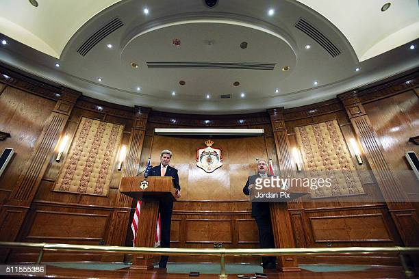 S Secretary of Sate John Kerry holds a press conference with Jordanian Foreign Minister Nasser Judeh on February 21 2016 in Amman Jordan While in...