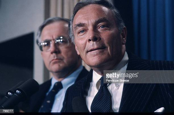 Secretary of State Alexander Haig Jr announces March 31 1981 his plan to assume executive authority over the country during a press conference in...