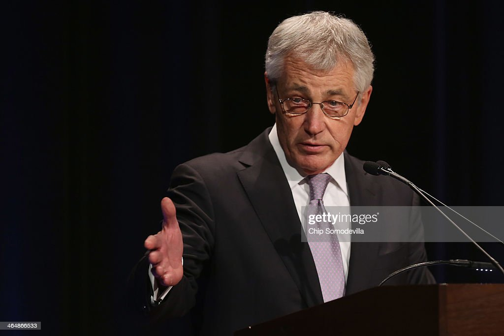 U.S. Secretary of State <a gi-track='captionPersonalityLinkClicked' href=/galleries/search?phrase=Chuck+Hagel&family=editorial&specificpeople=504963 ng-click='$event.stopPropagation()'>Chuck Hagel</a> delivers remarks during Air Force Secretary Deborah Lee James' ceremonial swearing in at the Pentagon January 24, 2014 in Arlington, Virginia. Already on the job for a month, James recently visited several Air Force bases during a fact-finding mission after problems within the force that operates the nation's Minuteman 3 nuclear missiles were discovered.