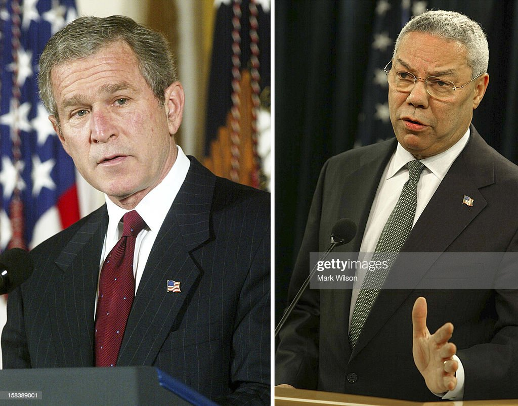 In this composite image a comparison has been made between former US President <a gi-track='captionPersonalityLinkClicked' href=/galleries/search?phrase=George+W.+Bush&family=editorial&specificpeople=122011 ng-click='$event.stopPropagation()'>George W. Bush</a> and his serving Secretary of State <a gi-track='captionPersonalityLinkClicked' href=/galleries/search?phrase=Colin+Powell&family=editorial&specificpeople=118599 ng-click='$event.stopPropagation()'>Colin Powell</a>. WASHINGTON - DECEMBER 19: U.S. Secretary of State <a gi-track='captionPersonalityLinkClicked' href=/galleries/search?phrase=Colin+Powell&family=editorial&specificpeople=118599 ng-click='$event.stopPropagation()'>Colin Powell</a> announces that Iraq is in 'material breach' of a UN disarmament resolution December 19, 2002 at the State Department in Washington, DC. Powell, describing Iraq's 12,000 page arms declaration as a catalog of 'recycled information and flagrant omissions,' said that the breach will not automatically trigger war.