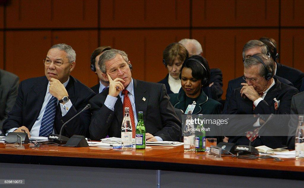 Secretary of State Colin Powell President George W Bush National Security Advisor Condoleezza Rice and Secretary of Defense Donald Rumsfeld attend a...